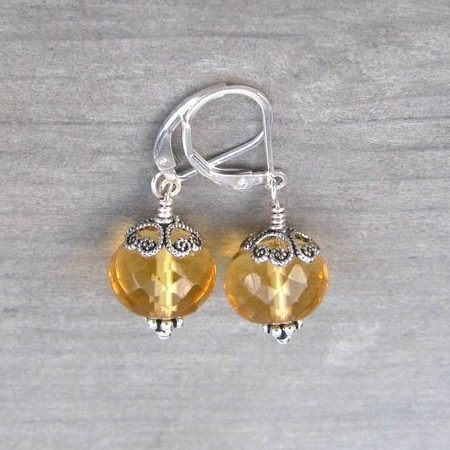 Silver Citrine Dangle November Birthstone Earrings