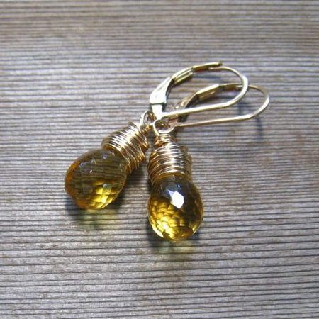 Wire Wrapped Natural Citrine November Birthstone Earrings