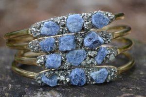 Raw Sapphire and Pyrite September Birthstone Bracelet