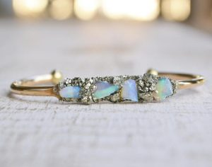 Raw Opal and Pyrite October Birthstone Bracelet