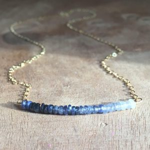 Shades of Blue Sapphire September Birthstone Necklace