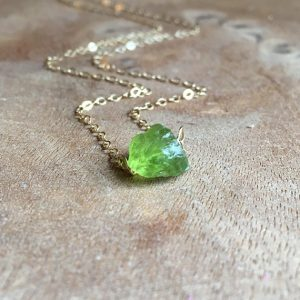 Rough Peridot August Birthstone Pendant