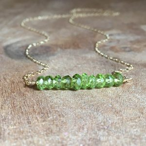 Faceted Beaded Peridot August Birthstone Necklace