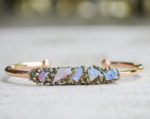 Rough Opal Gemstone October Birthstone Bracelet