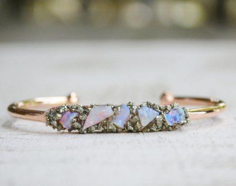 Rough Opal Gemstone October Birthstone Bracelet