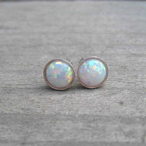 White Opal Stud October Birthstone Earrings