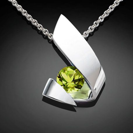 Silver Peridot August Birthstone Necklace