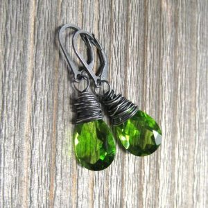 Green Peridot Dangle August Birthstone Earrings