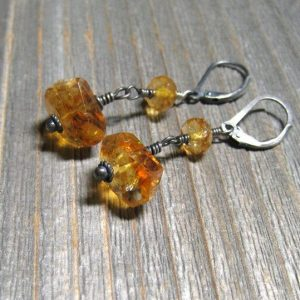 Natural Medwirs Citrine November Birthstone Earrings