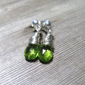 Wire Wrapped Peridot August Birthstone Earrings
