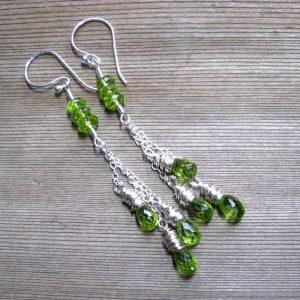 Silver Peridot Cascade August Birthstone Earrings