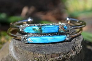 Raw Turquoise December Birthstone Stacking Bracelet