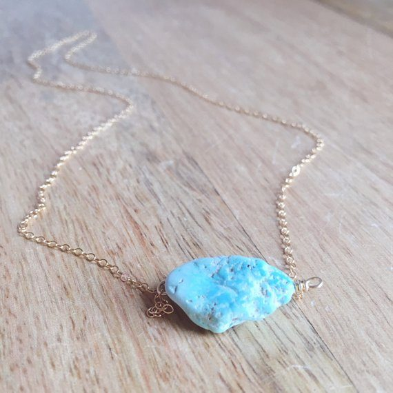 Raw Turquoise December Birthstone Necklace