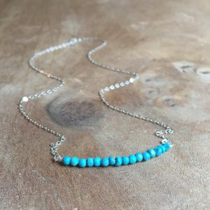 Dainty Turquoise Bar December Birthstone Necklace
