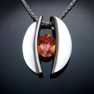 Mystic Topaz Silver November Birthstone Necklace