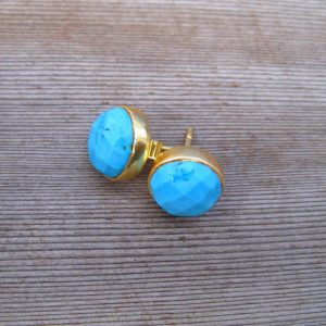 Turquoise Stud December Birthstone Earrings