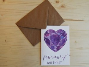 February Birthday Card - Amethyst Birthstone