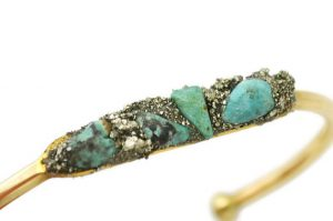 Genuine African Turquoise December Birthstone Cuff Bracelet