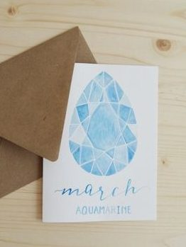 March Birthday Card - Aquamarine Birthstone