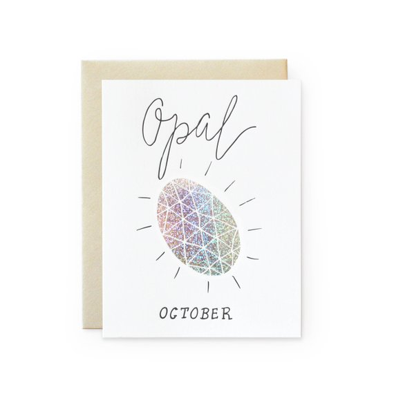 October Birthday Card - Opal Birthstone