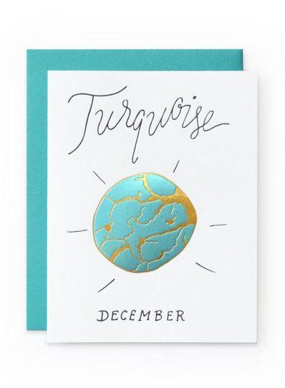 December Birthday Card - Turquoise Birthstone
