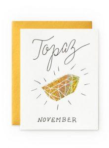 November Birthday Card - Topaz Birthstone