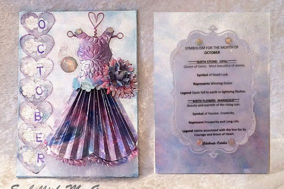 October Birthday Card - Birthstone, Flower and Fairy Dress