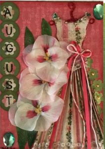 August Birthday Card - Birthstone, Flower and Fairy Dress