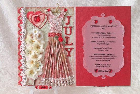 July Birthday Card - Birthstone, Flower and Fairy Dress