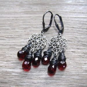 Garnet Chandelier January Birthstone Earrings