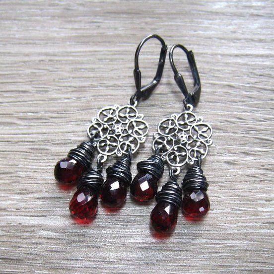 Garnet Chandelier January Birthstone Earrings