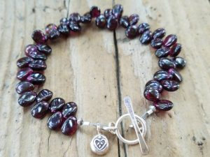 Garnet and Silver Charm January Birthstone Bracelet