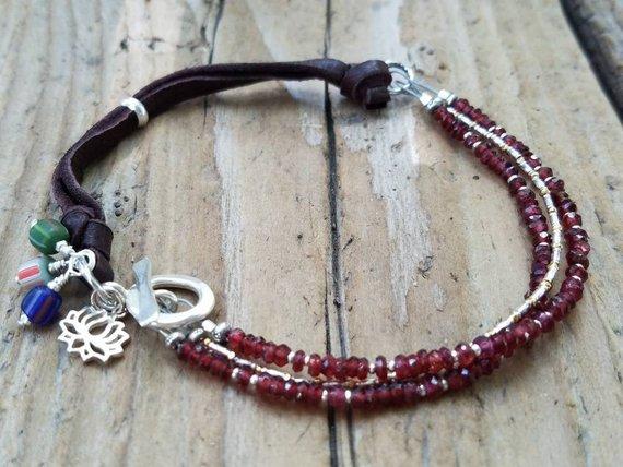 Garnet and Leather Janaury Birthstone Bracelet