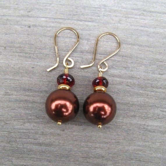 Gold Pearl and Garnet January Birthstone Earrings