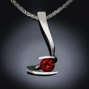 Garnet Silver January Birthstone Pendant
