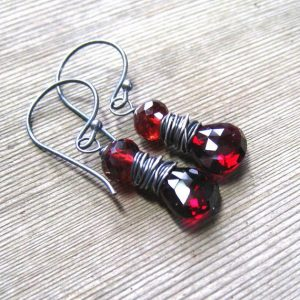 Sterling Silver Garnet January Birthstone Earrings