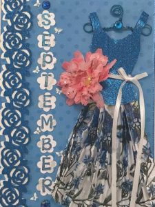 September Birthday Card - Birthstone, Flower and Fairy Dress