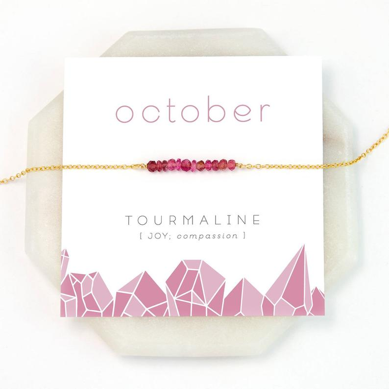 October Pink Tourmaline Birthsone Card and Necklace