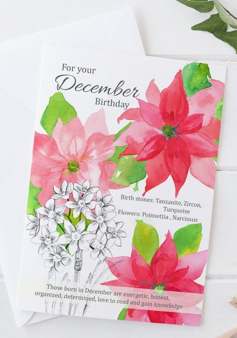 December card with birth flowers