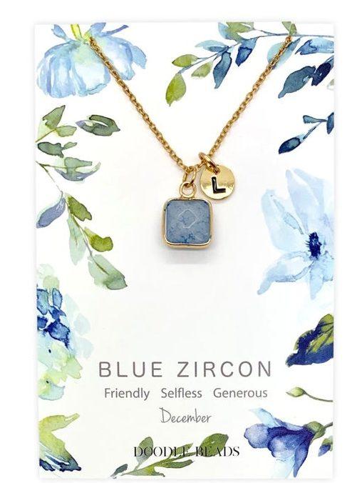 December birthstone necklace card