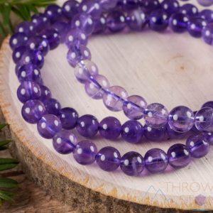 February Birthstone Bracelet - Round Amethsyt Beads