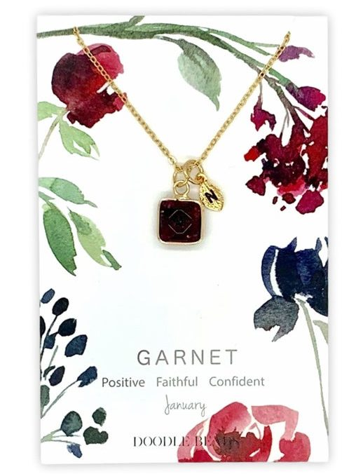 January birthstone necklace card