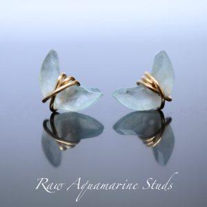 Aquamarine Birthstone Earrings - Studs