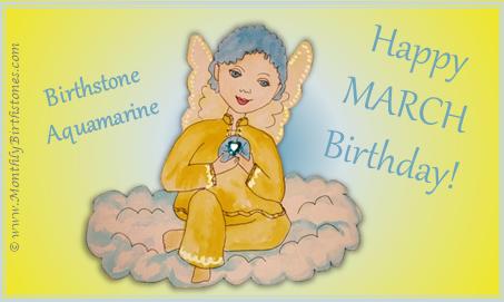 March Birthday eCard - Angel holding Aquamarine birthstone
