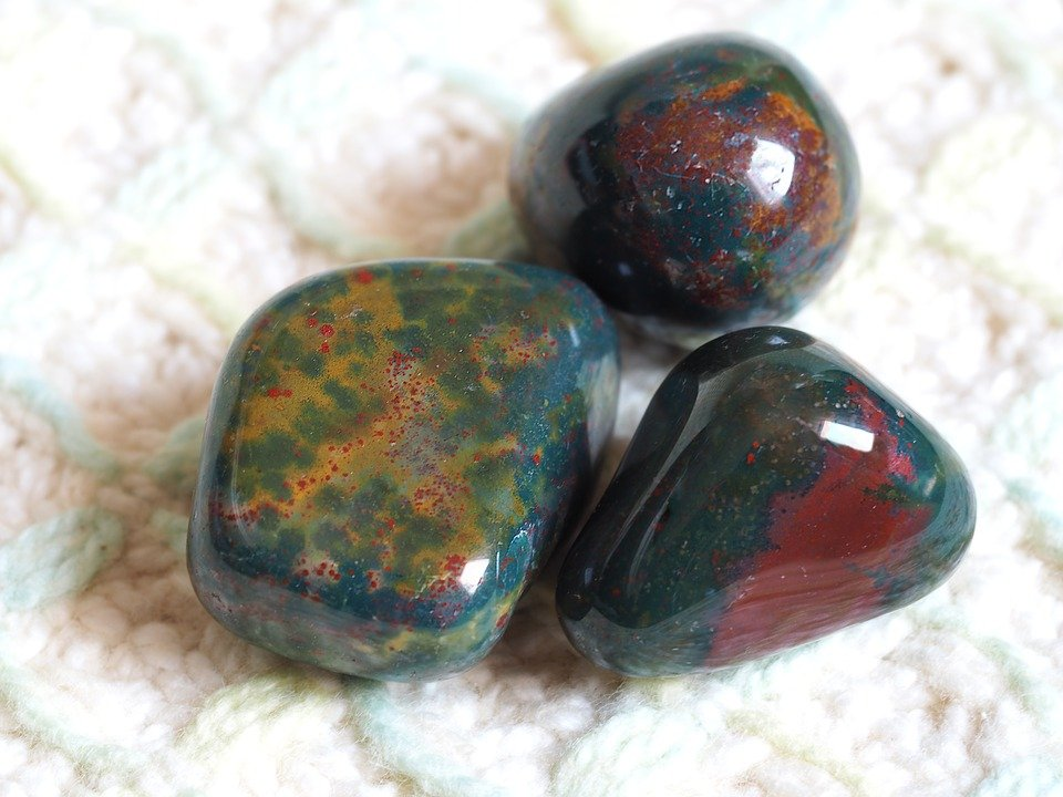 Bloodstone Tumbled Stones - March and Aries Birthstone