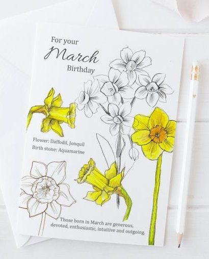 March Birthday Card with Birth Flower