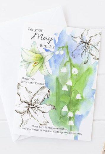 May Birthday Card with Birth Flower