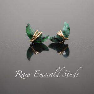 May Birthstone Earrings - Emerald Studs