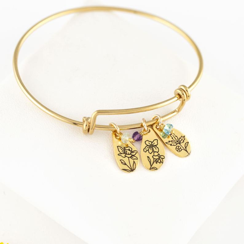 Personalized Family Bracelet with Birth Flowers and Birthstones