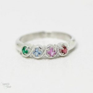 Silver or Gold Personalized Mothers Ring with two to five birthstones